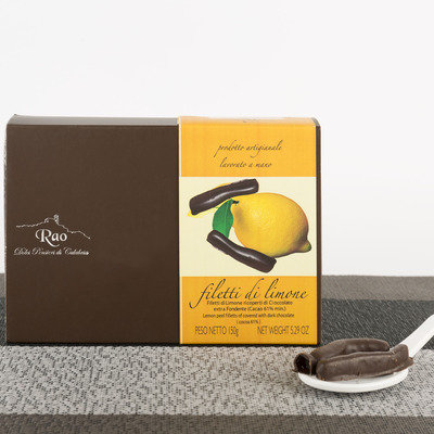 Lemon segments covered with dark chocolate