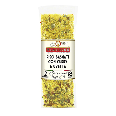 Basmati rice risotto with mild curry and raisins